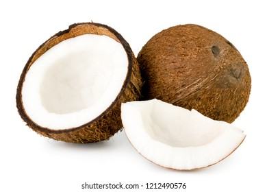 Coconut, half and piece close up on a white. Isolated