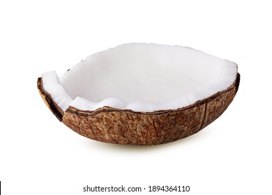 Coconut half and piece isolated on the white background.