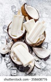 coconut Ice cream popsicle