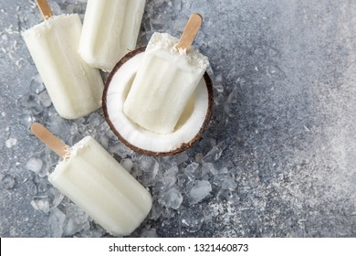 coconut ice cream popsicles, top view, copy space
