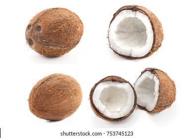 coconut isolated on white background, set of five coconuts