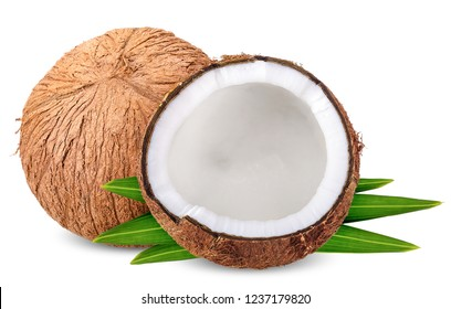 coconut isolated on white with clipping path.