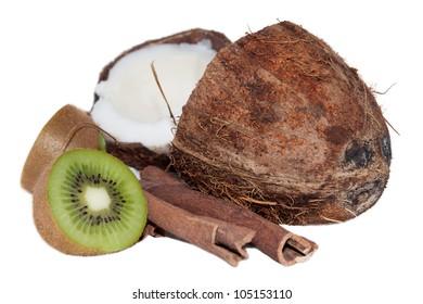 Coconut, kiwi, cinnamon on the white background