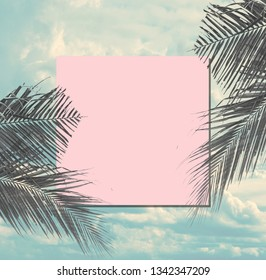 Coconut leaf shadow with copy space in blue sky suitable for layout. Tropical and holiday summer composition in vintage style.