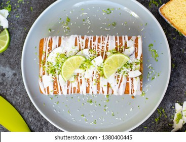 Coconut and lime loaf cake, with limes and coconut
