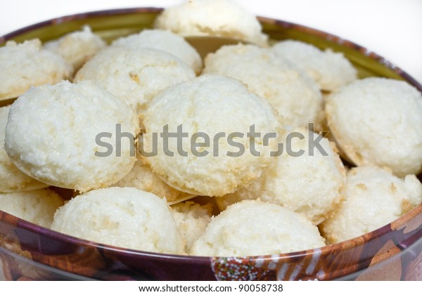 Christmas Tin Cookies.Coconut Macaroons Christmas Cookies Tin Stock Photo Edit