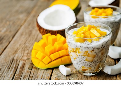 coconut mango Chia seed pudding. the toning. selective focus