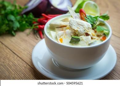 "Coconut milk with chicken. Traditional thai soup ""Tom Kha Gai"""