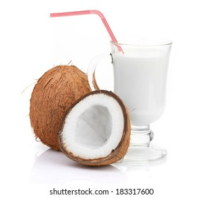 coconut and milk glass