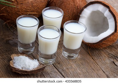 Coconut milk in a glass with coconut shells on old wooden background,selective focus