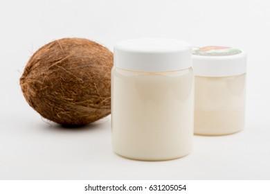 coconut milk. a jar of coconut milk