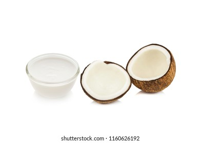 Coconut and coconut milk  on white background