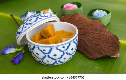 Coconut Milk Stewed Pumpkin ,thai say Buak-Phak-Tong ,Thai dessert of Health, Thailand. Medicinal properties.