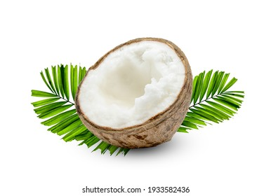 Coconut milk tropical fruit or fluffy coconut cut in half with palm leaf isolated on white background
