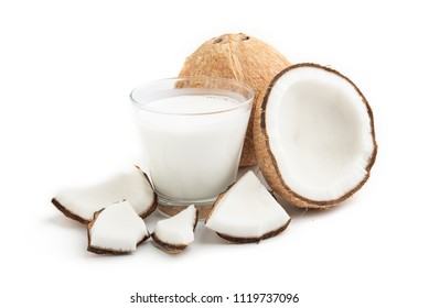 coconut oil and fresh coconuts isolated on white background.