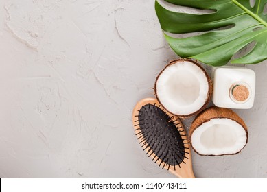 coconut oil and hair care concept