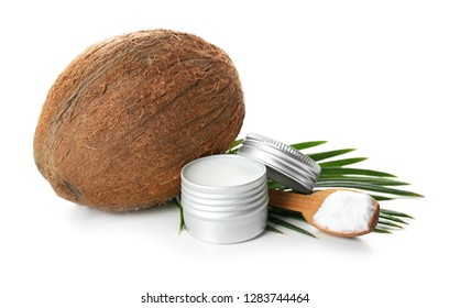 Coconut oil for hair care on white background