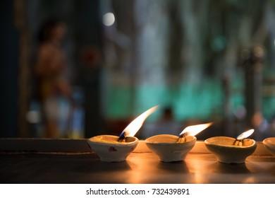 Coconut oil lamps in Hindu temple