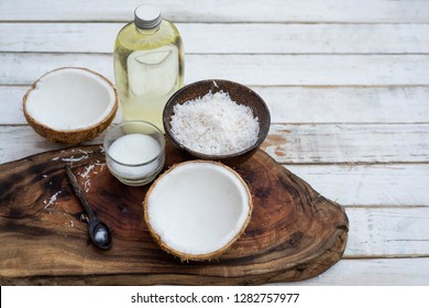 Coconut oil on table background
