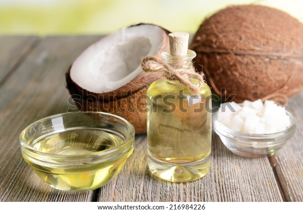 Coconut oil on table close-up