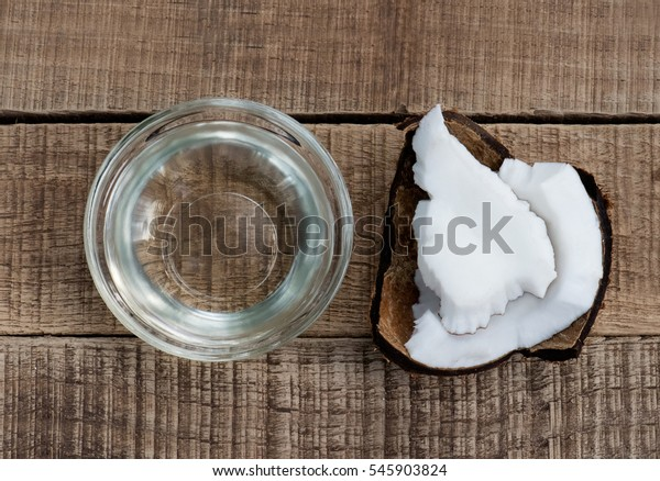 coconut oil and coconut pieces