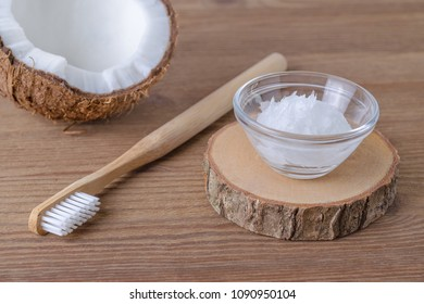 coconut oil toothpaste, natural alternative for healthy teeth, wooden toothbrush