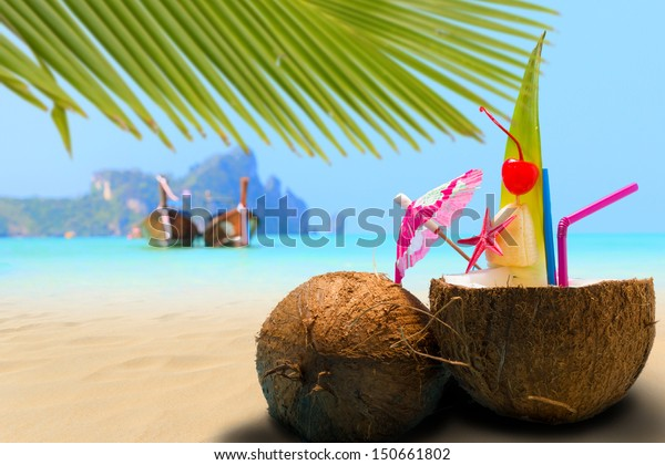 Coconut on the beach in Phi Phi island Thailand