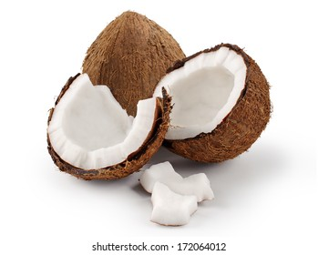 Coconut on a white background. Parts of coconut