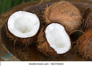 Coconut on a wooden background