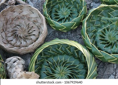 coconut palm leaf leaves Basket bowls woven weave in Caribbean island Antigua, traditional local craft at market, also common in Asia and Thailand