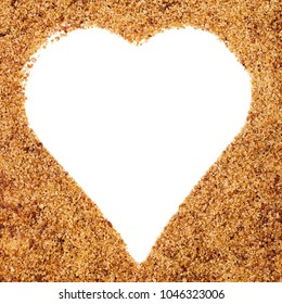 coconut palm sugar with a white Heart shaping, copyspace