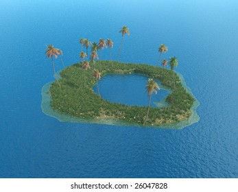 Coconut palm trees on a small island - digital artwork