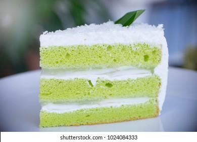 Coconut Pandan Cake in White Plate