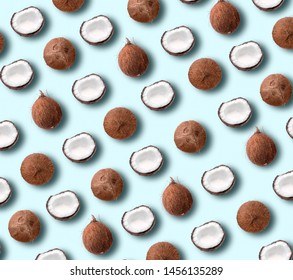 Coconut pattern on pastel blue background. Summer concept. Flat lay, top view. Banner
