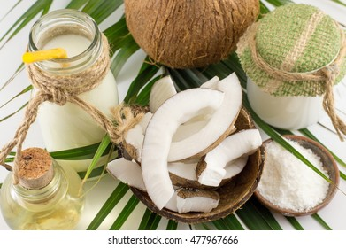 Coconut products with fresh fruit milk and oil