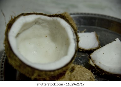 coconut at puja religious offerings on white background