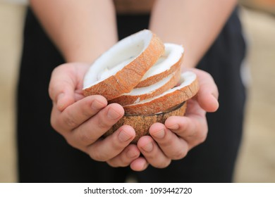 Coconut pulp in the hands