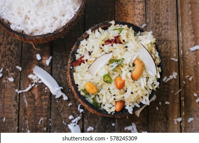 Coconut rice - South Indian one pot meal using leftover cooked Basmati rice ,top view