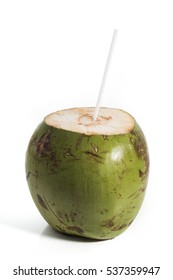 Coconut ripe and tasty with white straw isolated on white background
