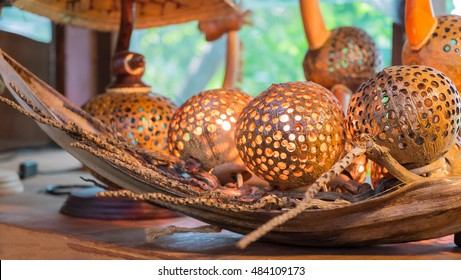 Coconut shell product, Lamp made from coconut shells
