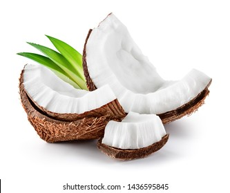 Coconut slice. Coco pieces isolated on white. Coconut with leaves.