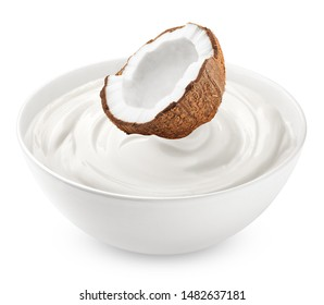 coconut with sour cream, yogurt, isolated on white background, clipping path, full depth of field