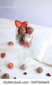 Coconut Strawberry Energy Superfood Balls.