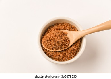 Coconut sugar with white background