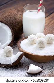 Coconut sweets and fresh coconut