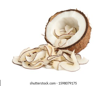 Coconut with tasty chips isolated on white