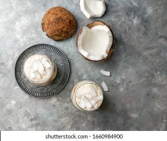 coconut tiramisu in glass, typical desert of Latin America region, Cuba and Colombia, tarta de coco