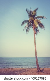 Coconut tree on the tropical beach and sea - Vintage Filter