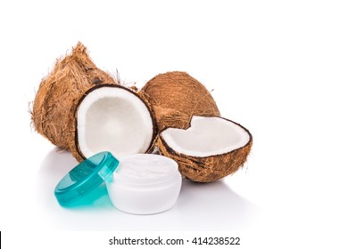 Coconut and tub containing coconut oil are used as natural moisturizer in skincare