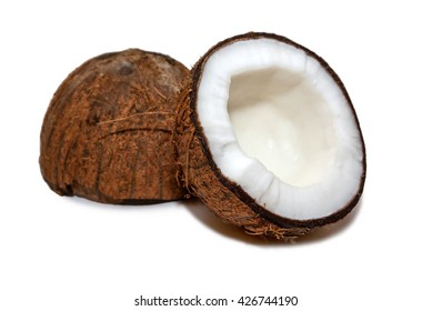 COCONUT - Two halves of a coconut fruit isolated on white.